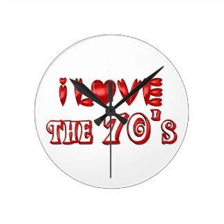 I Love the 70's Round Clock