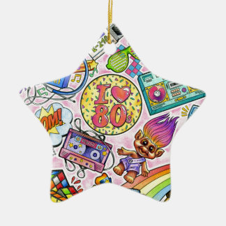 I love the 80s - 1980s Swag Ceramic Star Ornament