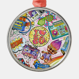 I love the 80s - 1980s Swag Silver-Colored Round Ornament