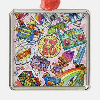 I love the 80s - 1980s Swag Silver-Colored Square Ornament