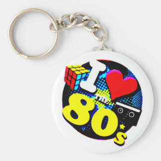 I Love The 80's Basic Round Button Keychain