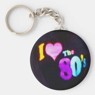 I Love The 80's Basic Round Button Keychain