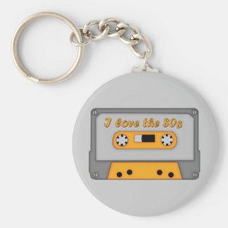 I Love The 80s (cassette) Basic Round Button Keychain