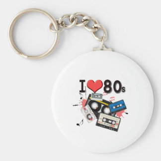 I love the 80s multiple products selected basic round button keychain