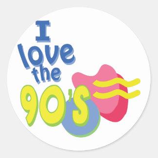 I Love the 90s Round Sticker