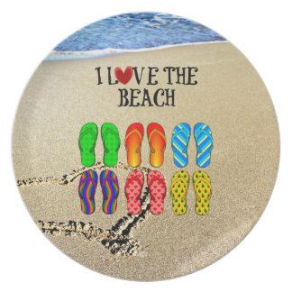 I Love the Beach, Flip Flops in the Sand Plate