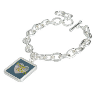 I Love the Beach in Dark Ocean Blue Charm Bracelet