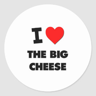 I Love The Big Cheese Round Stickers