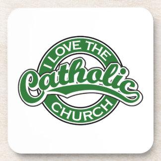 I love the Catholic Church in Green Beverage Coasters