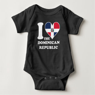 I Love the Dominican Republic Dominican Flag Heart Baby Bodysuit