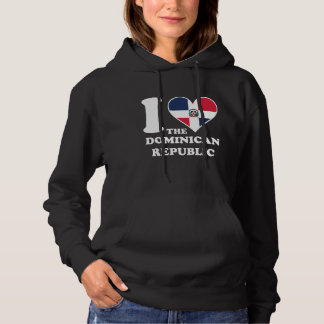 I Love the Dominican Republic Dominican Flag Heart Hoodie
