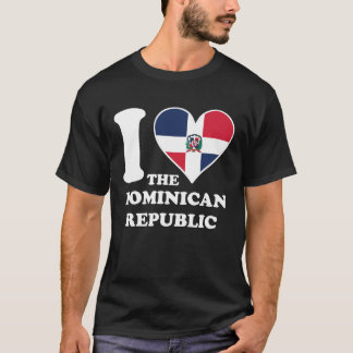 I Love the Dominican Republic Dominican Flag Heart T-Shirt