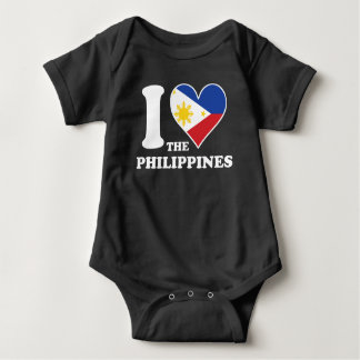 I Love the Philippines Filipino Flag Heart Baby Bodysuit
