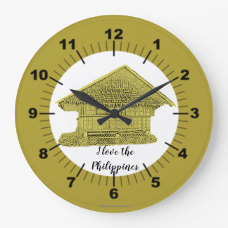 "I love the Philippines ""vintage yellow"" Large Clock"