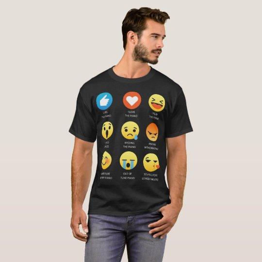 I Love the Piano Emoji Emoticon Graphic Tee Shirt