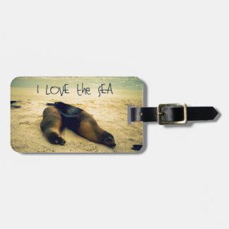 I love the Sea quote beach with sea lions Luggage Tag