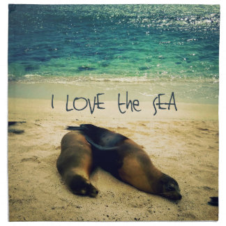 I love the Sea quote beach with sea lions Napkin