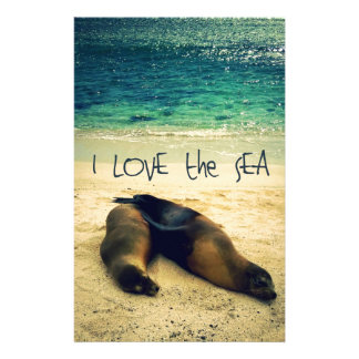 I love the Sea quote beach with sea lions Stationery