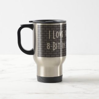I Love the Smell of 8-Bit in the Morning, Grey 15 Oz Stainless Steel Travel Mug