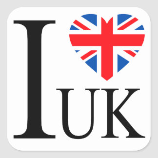I Love the UK Great Britain Flag Heart Square Sticker