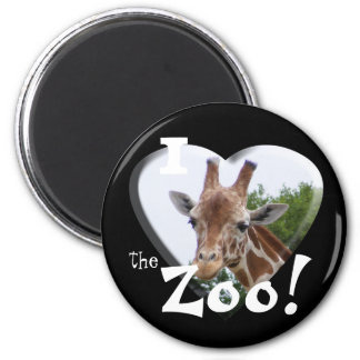 I Love the Zoo: Giraffe Heart Magnet