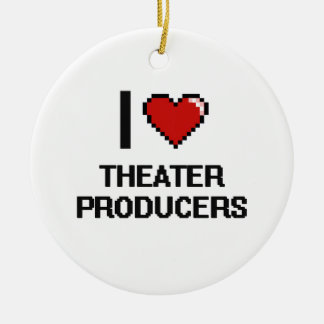 I love Theater Producers Round Ceramic Ornament