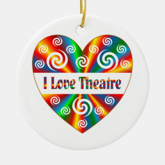 I Love Theatre Round Ceramic Ornament
