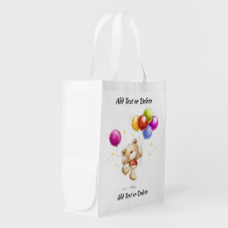 I LOVE THESE BAGS! Teddy Bear and Ballo - See Back Reusable Grocery Bag
