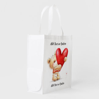 I LOVE THESE BAGS! Teddy Bear and Heart - See Back Reusable Grocery Bag