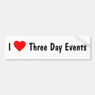 I Love Three Day Events Car Bumper Sticker