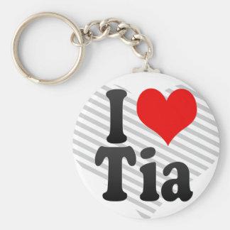 I love Tia Basic Round Button Keychain
