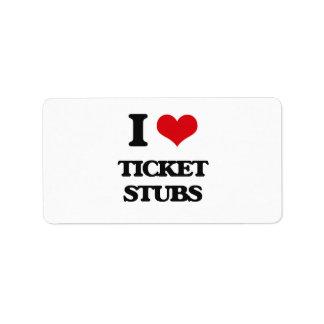 I love Ticket Stubs Address Label