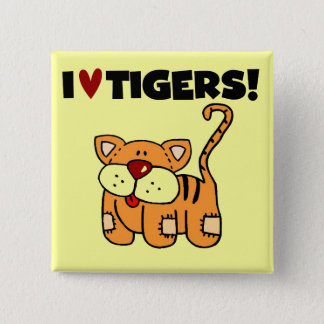 I Love Tigers Tshirts and Gifts 2 Inch Square Button