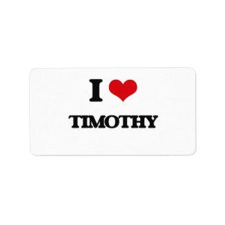 I Love Timothy Address Label
