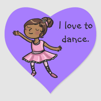 I love to dance cartoon ballet dancer heart sticker