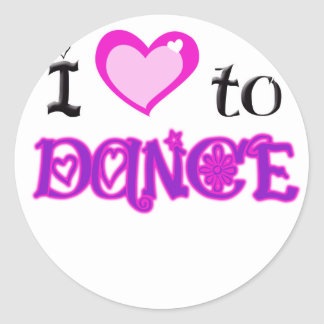 I Love to Dance Classic Round Sticker