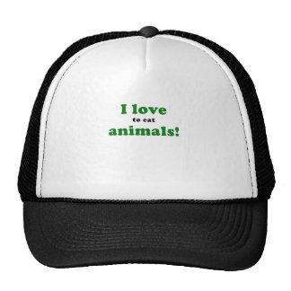 I Love to Eat Animals Hats