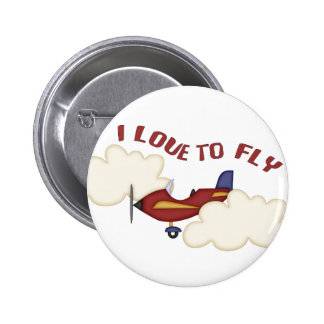 I Love to Fly 2 Inch Round Button