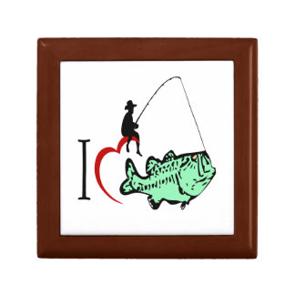 I love to go fishing with a red heart gift box