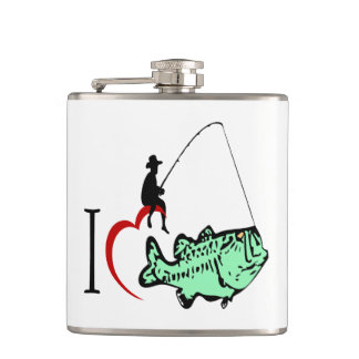 I love to go fishing with a red heart hip flask