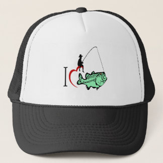I love to go fishing with a red heart trucker hat