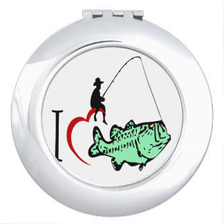 I love to go fishing with a red heart vanity mirror