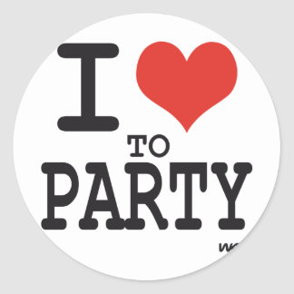 i love to party round stickers