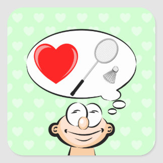 I love to play badminton square sticker