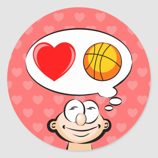 I love to play basketball classic round sticker