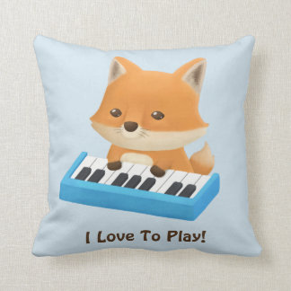 I love to Play Cute Fox on Piano Kids Room Decor Throw Pillow