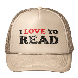 I Love To Read Distressed Mesh Hat