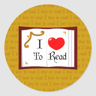 I Love To Read Round Sticker