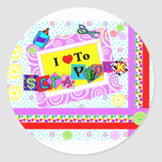 I Love to Scrapbook Round Sticker