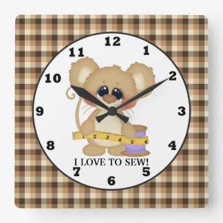 I Love to Sew Mouse wall clock